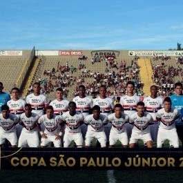 O Tricolor Paulista estreou no mata-mata com Lucas Paes; Igor, Eder Militão, Rony e Liziero; Pedro, Vinícius e Frizzo; Léo Natel, Heron e Caíque. (Foto: Lucas Gabriel Cardoso)